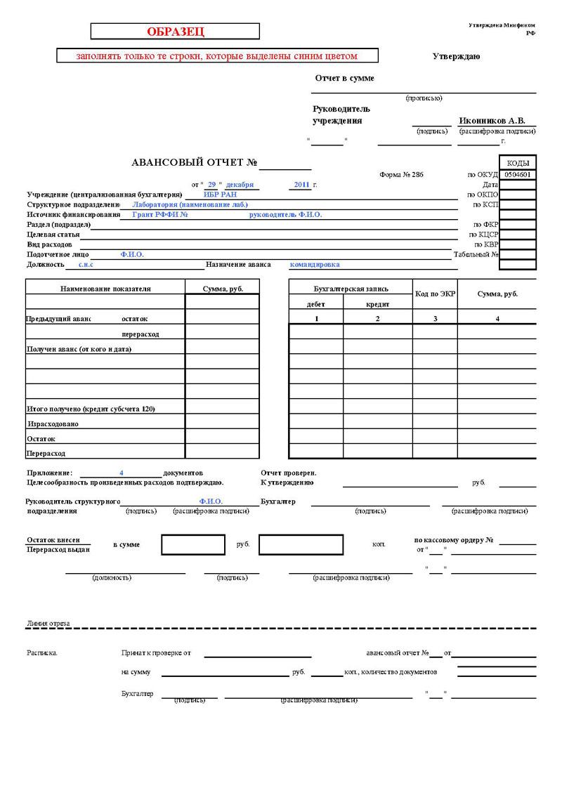 Авансовый Отчет бланк Форма 286