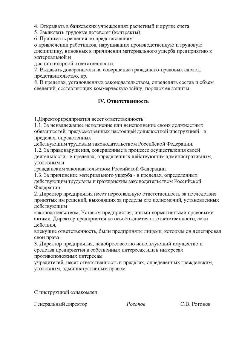 Должностная инструкция первого зам генерального директора