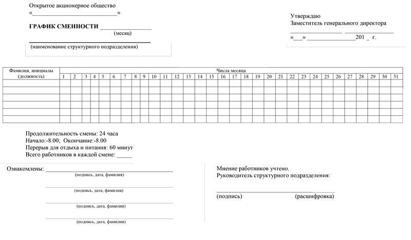 приказ об утверждении графиков сменности образец