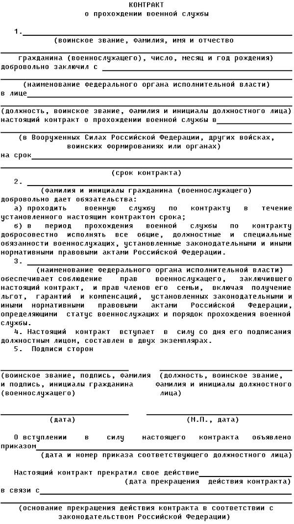Контракт о Прохождении Военной Службы образец
