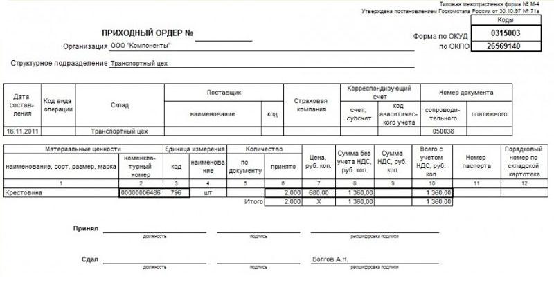 образец заполнения приходный ордер по форме м-4 - фото 4