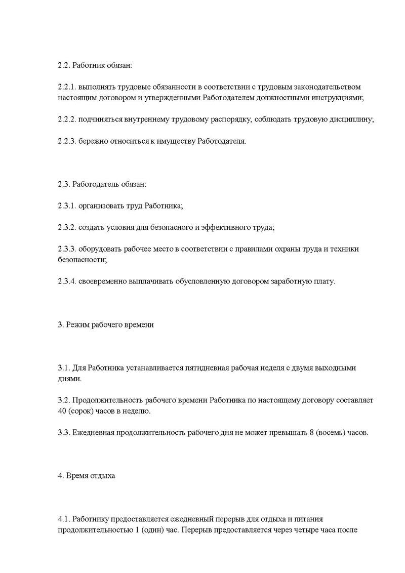 трудовой договор технический директор образец