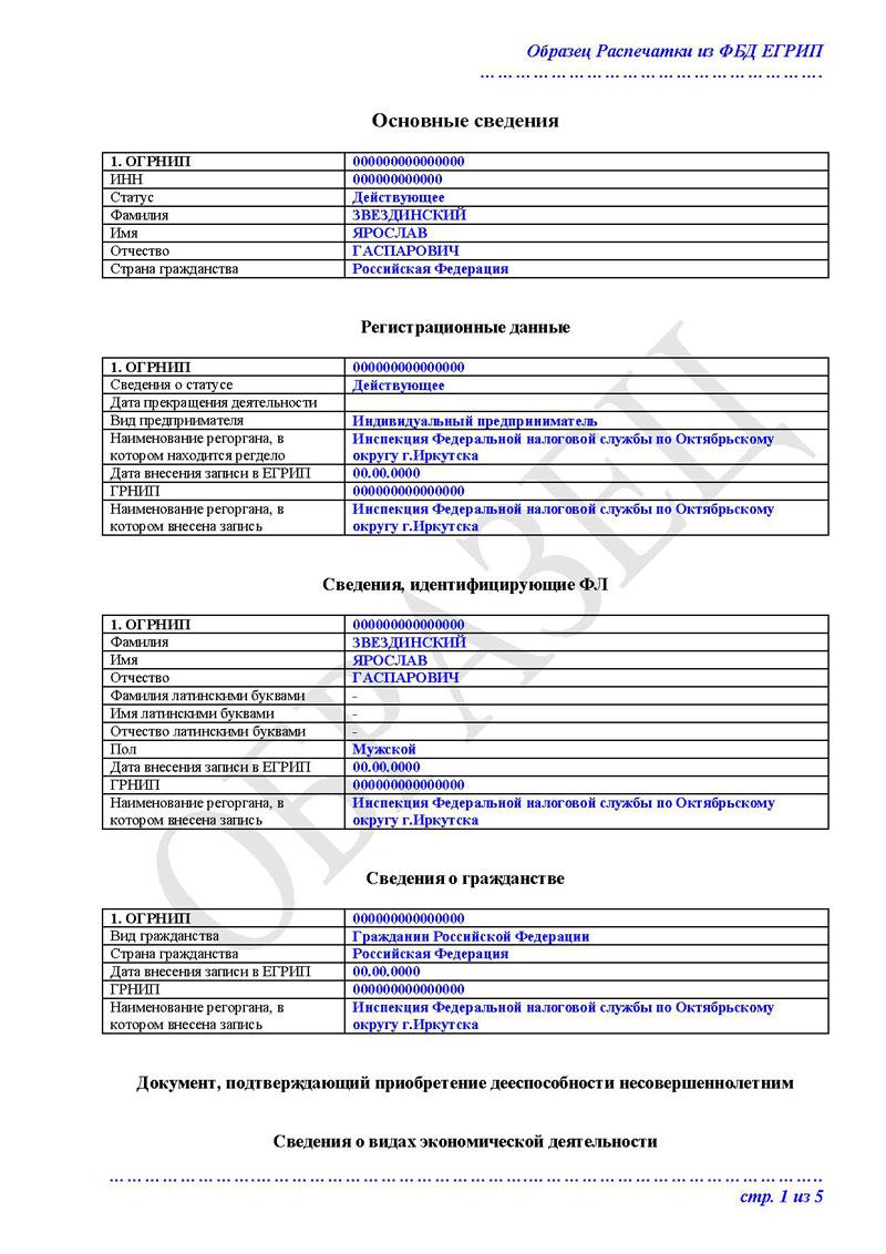запрос на выписку егрип образец