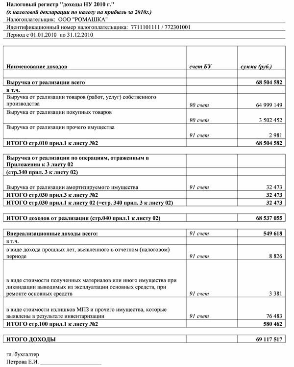Налоговый регистр (образец)