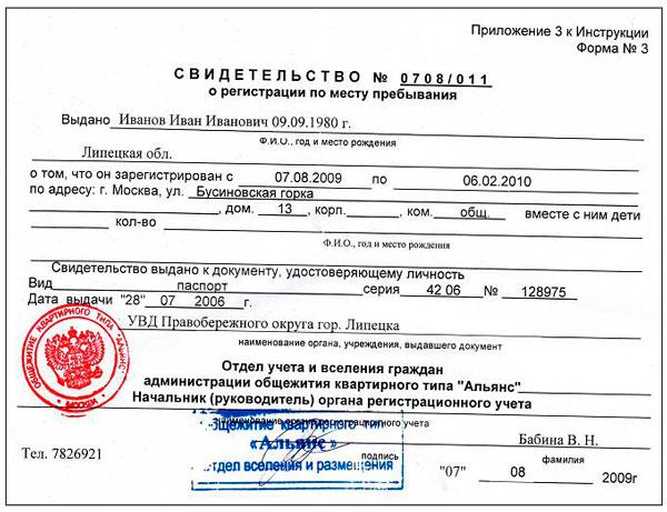 Регистрация Иностранного Гражданина по Месту Пребывания образец