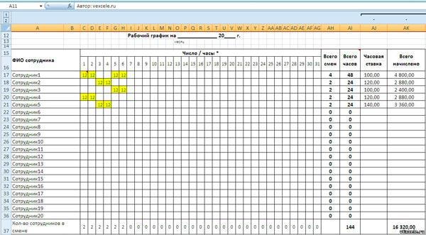 Составление графиков работы сотрудников онлайн программа