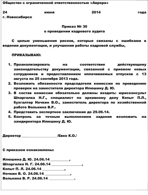 Инструкция о порядке проведения внутреннего кадрового аудита
